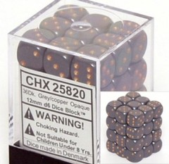 36 12mm Grey w/Copper Opaque D6 Dice - CHX25820