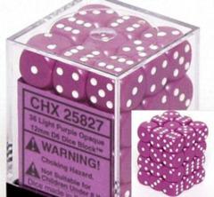 36 12mm Light Purple w/White Opaque D6 Dice - CHX25827