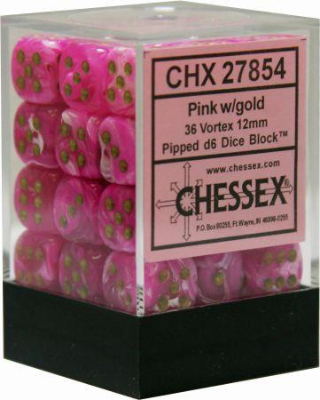 36 12mm Pink w/ Gold Vortex D6 Dice - CHX27854