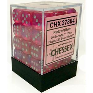 36 12mm Pink w/Silver Borealis D6 Dice - CHX27804