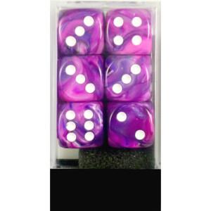 12 16mm Violet w/White Festive D6 Dice - CHX27657
