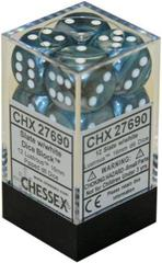 12 16mm Slate w/White Lustrous D6 Dice - CHX27690