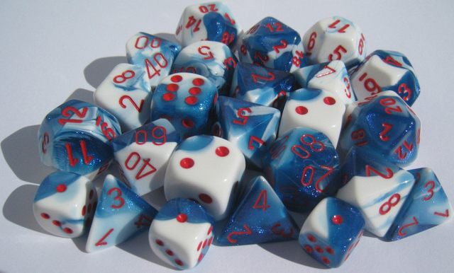 7 Astral Blue-White w/red Gemini Polyhedral Dice Set - CHX26457