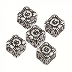 5 D6 Tech Dice Metal-black set