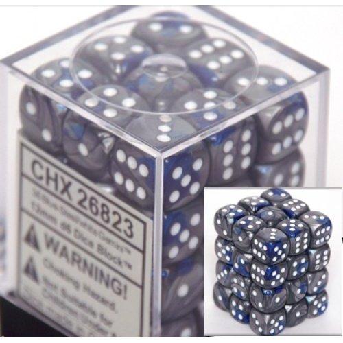 36 Blue-steel w/white Gemini 12mm D6 Dice Block - CHX26823