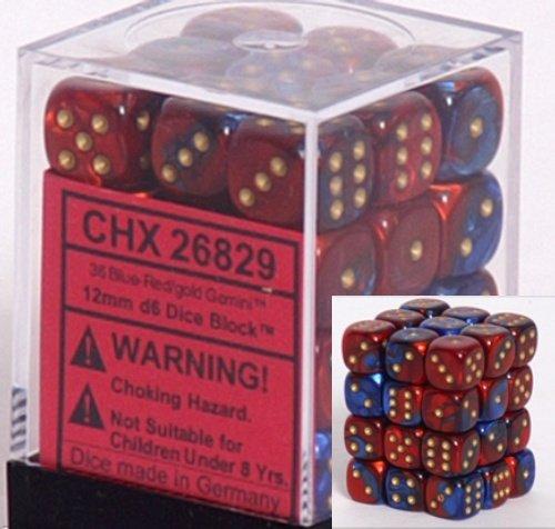 36 Blue-red w/gold Gemini 12mm D6 Dice Block - CHX26829