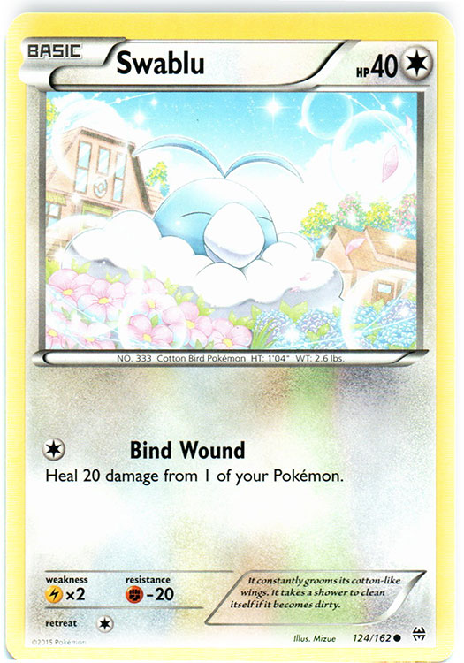 Swablu 124//162 BREAKthrough Reverse Holo Mint Pokemon Card