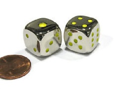 Metal Dice - Green Pips (15mm)
