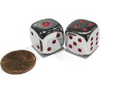Metal Dice - Red Pips (15mm)
