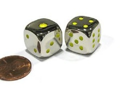 Metal Dice - Yellow Pips (15mm)