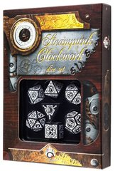 Black-White Steampunk Clockwork Dice Set (7)