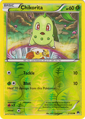 Chikorita - 1/122 - Common - Reverse Holo on Channel Fireball