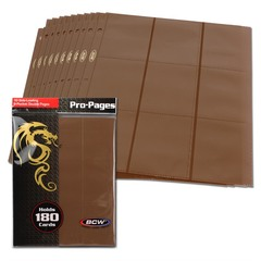 BCW Side Loading 18 Pocket Pro Pages - Brown