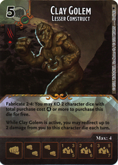 Clay Golem - Lesser Construct (Die & Card Combo)