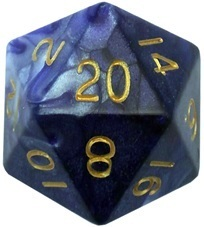 Acrylic Dice 35mm Mega D20 Combo Attack Blue & White with Gold Numbers