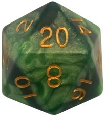 Acrylic Dice 35mm Mega D20 Combo Attack Green & Light Green with Gold Numbers