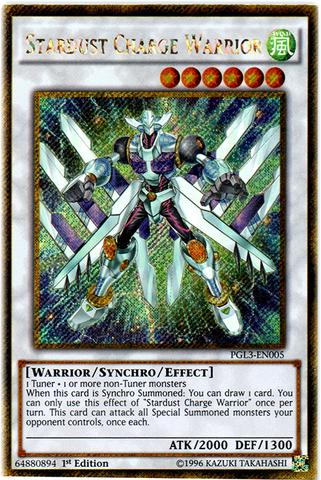 Stardust Charge Warrior - PGL3-EN005 - Gold Secret Rare - 1st Edition
