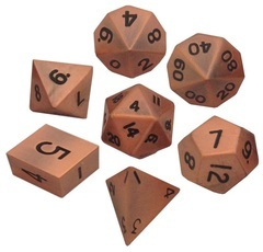 Metallic Dice 16mm Antique Copper Metal Dice Set
