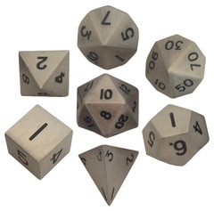 Metallic Dice 16mm Antique Silver Metal Dice Set