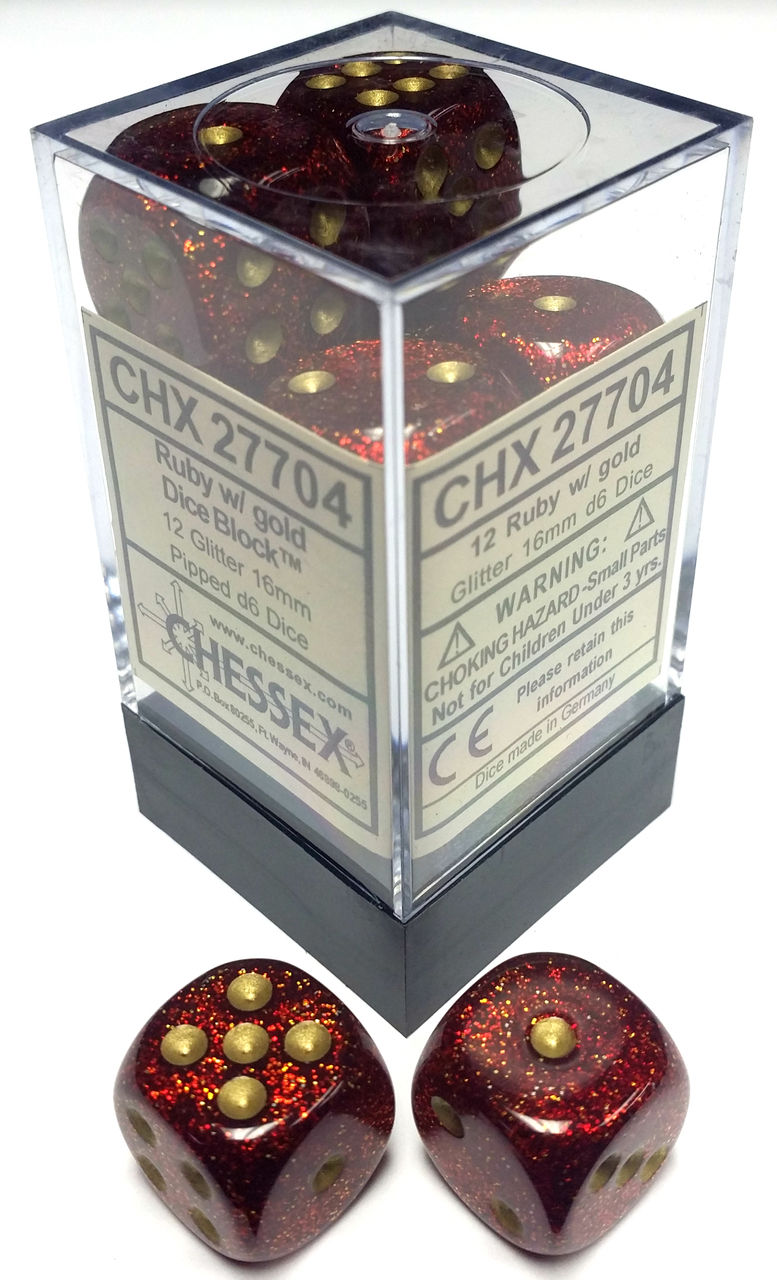 Glitter Ruby and Gold 12ct 16mm D6 Dice Block - CHX27704
