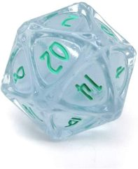 PolyHero - 1d20 Orb - Ethereal ice with Burning Blue