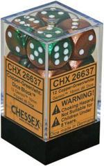 12 Copper-Green w/gold Gemini 16mm d6 Dice Block - CHX26637