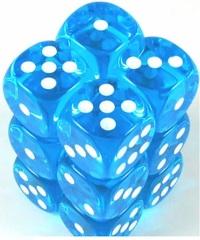 Transparent 12D6 Turquoise/White 16Mm Round Cornered Dlx