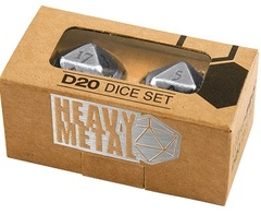 Heavy Metal D20 2-Dice Set Chrome