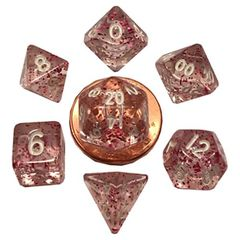 7 Count Mini Dice Poly Set: Ethereal Purple With White Numbers