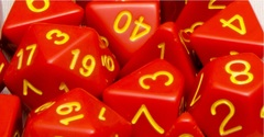 Opaque Red with Gold Numbers - Set of 7