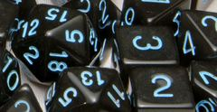 Translucent Black (Smoke) with Lt Blue Numbers - Set of 15
