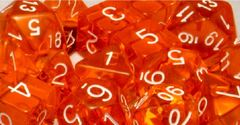 Translucent Orange with White Numbers - d10 - CHX 23273