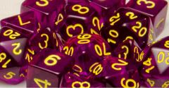 Translucent Dark Purple with Gold Numbers - Set of 7