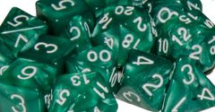 Marble Green with White Numbers - d6