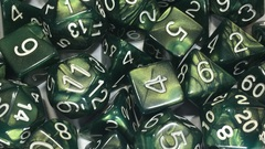 Emerald Dragon Shimmer with White Numbers - d10