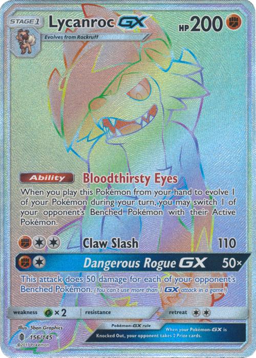 Pokemon Card LYCANROC GX 156//145 Guardians Rising Holo Full Art Secret Rare NM
