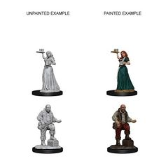 Pathfinder Battles Unpainted Minis - Serving Girl And Merchant