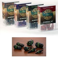 Polyhero Dice: Warrior Set - Black With Goblin Green