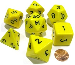 13043 Opaque Jumbo 7-Die Set Yellow/Black CUBE