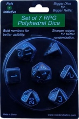 Opaque Black W/ Lt Blue - Set Of 7 Dice