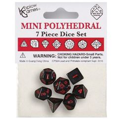 Mini Polyhedral Dice: Opaque - Black With Red Numbers (7Ct)