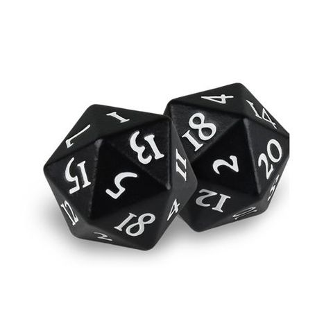 Ultra Pro - Heavy Metal Dice D20: Set Of 2 - Black Magic With White Numbers