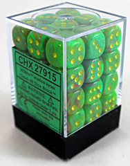 Chessex D6: 12mm: Vortex: Slime/Yellow -  CHX27915