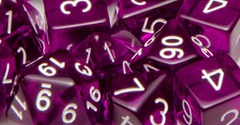 Set Of 15 Dice: Translucent Dark Purple W/White