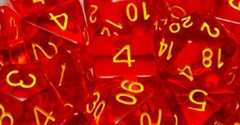 Set Of 15 Dice: Translucent Red W/Gold