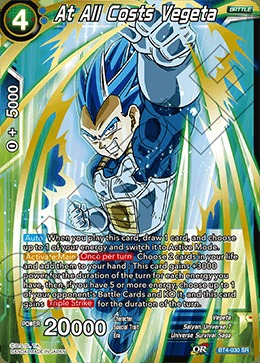 At All Costs Vegeta Super Rare Near Mint Dragon Ball BT4-030
