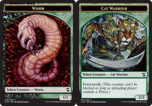 Worm Token // Cat Warrior Token