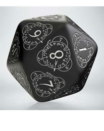 Q-Workshop Life Counter Die D20 black & white