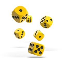 Oakie Doakie Dice - D6 Solid Yellow 16mm Set of 12 (ODD410029)