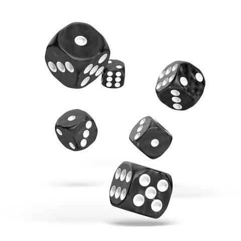 Oakie Doakie Dice - D6 Marble Black 16mm Set of 12 (ODD410004)